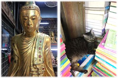 バンコク ウィークエンドマーケット 仏像と猫