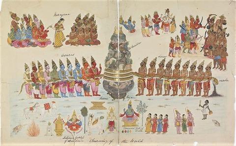 1820年頃に描かれた乳海攪拌(ウィキペディア)