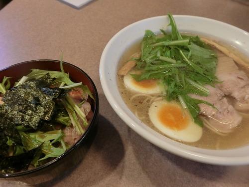 藤浪 塩らぁめん+チャーシュー丼