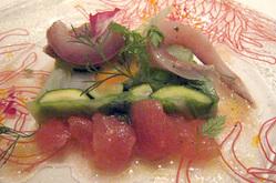 ソプラーノの旬の野菜のテリーヌと鯵のマリネ