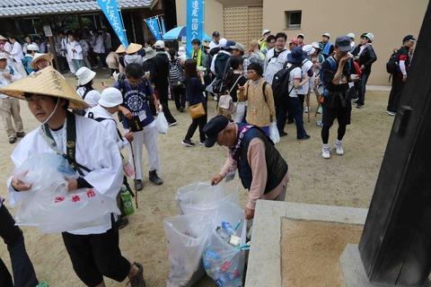 57番栄福寺でゴミ回収&お接待