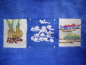 和紙に藍染め