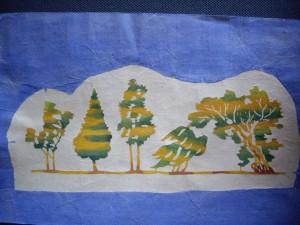 和紙に藍染め 樹木たち