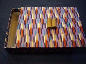 紺矢絣の友禅紙箱