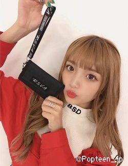 RASVOA(ラスボア) ロゴストラップつき三つ折り財布