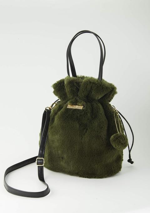 ふんわりファーの巾着バッグ