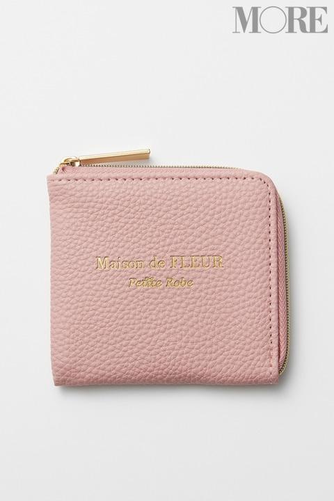 メゾンドフルール プチローブ 大人ピンクなレザー調ミニ財布