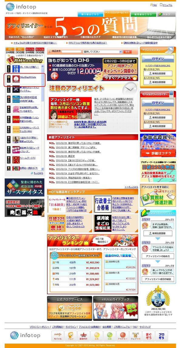 2wayブログアフィリエイト1位達成!