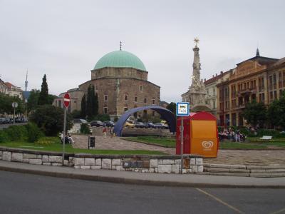 セーチェニ広場と旧カーズィ・カスィム・モスク(ペーチ)