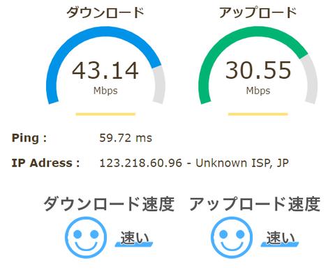 スピードテスト2020 4-9VGN-NW51FB無線LAN