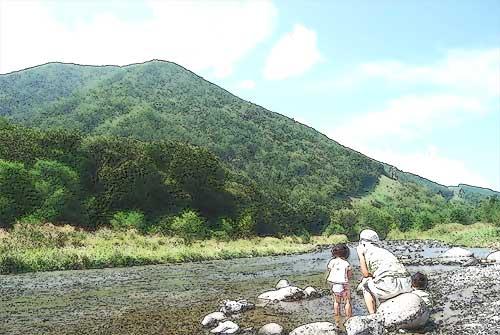 田舎の川原遊び
