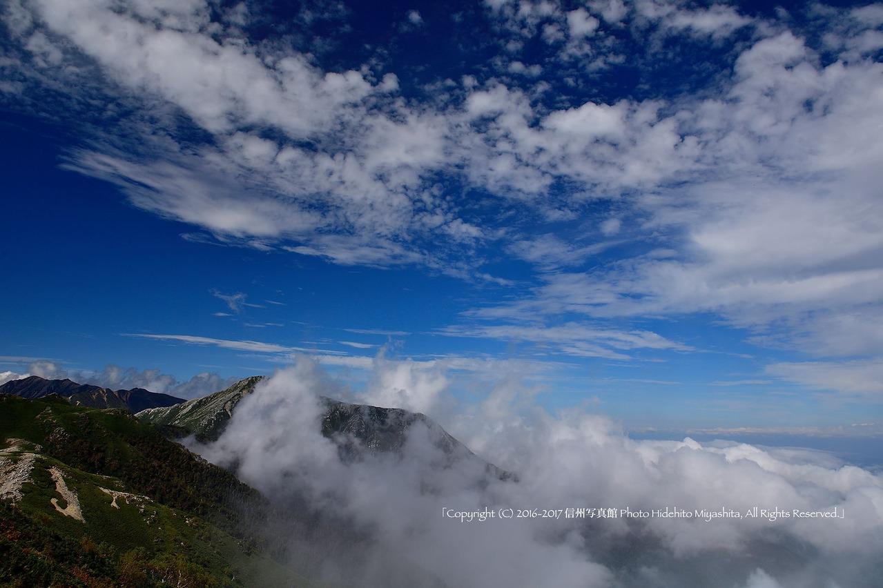 常念岳にかかる雲