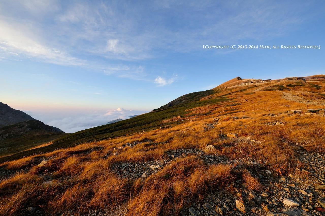 夕陽に染まる白馬岳…