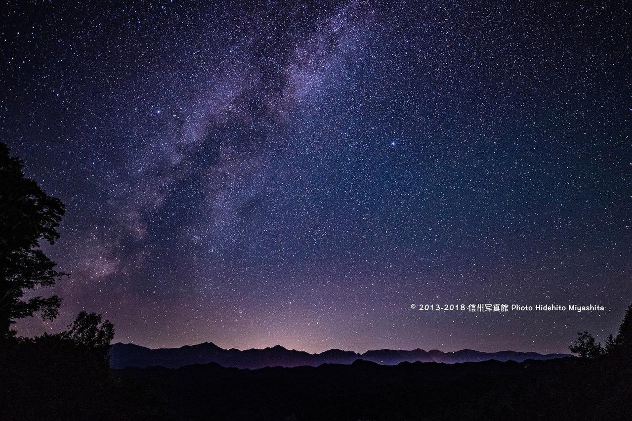 夏の銀河と後立山連峰