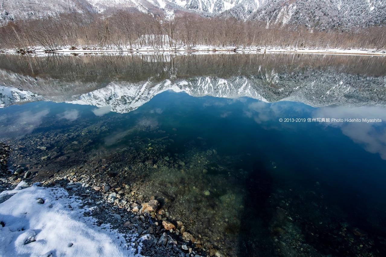 水の中の焼岳