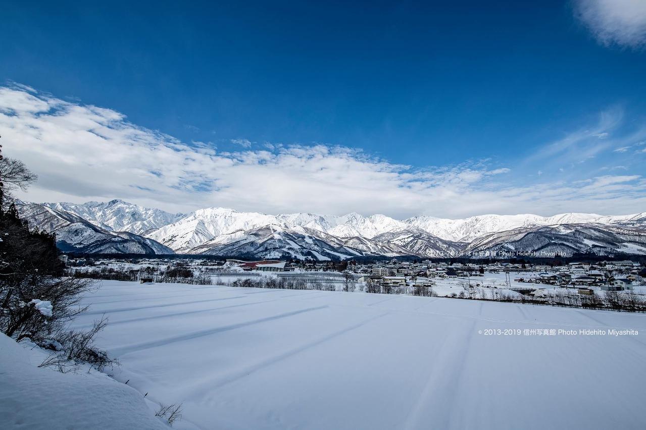 雪原広がる白馬村