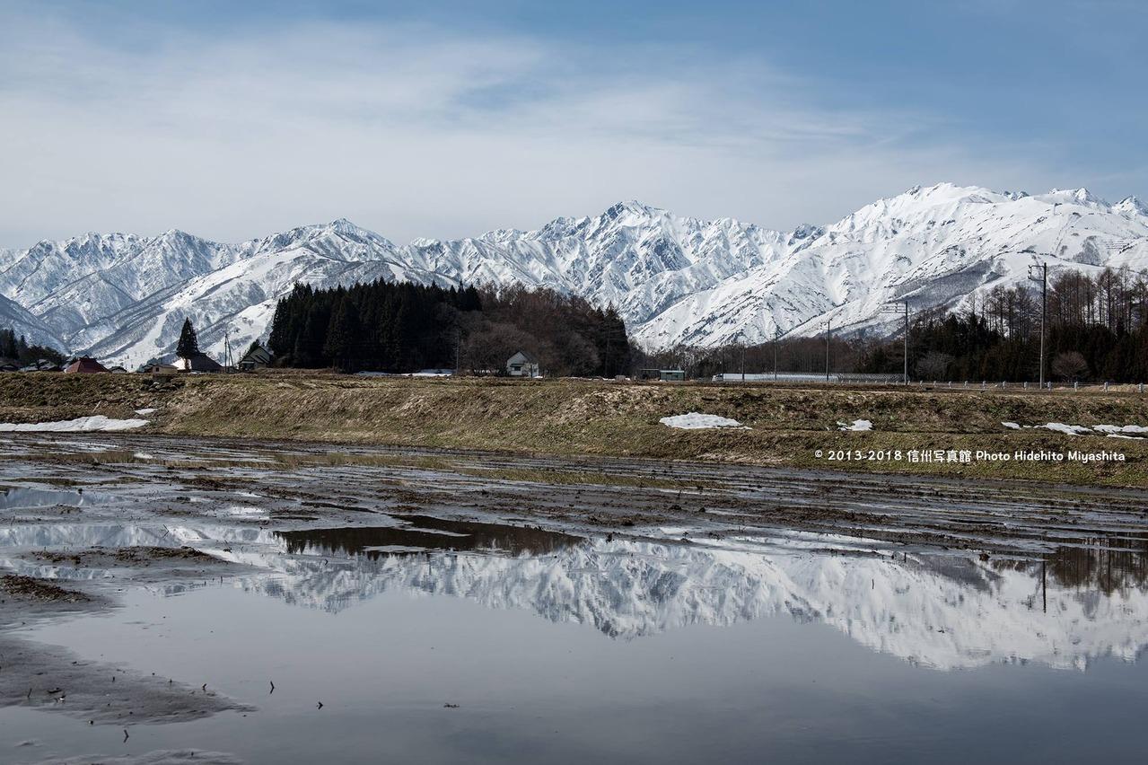 冬の終わりの水鏡