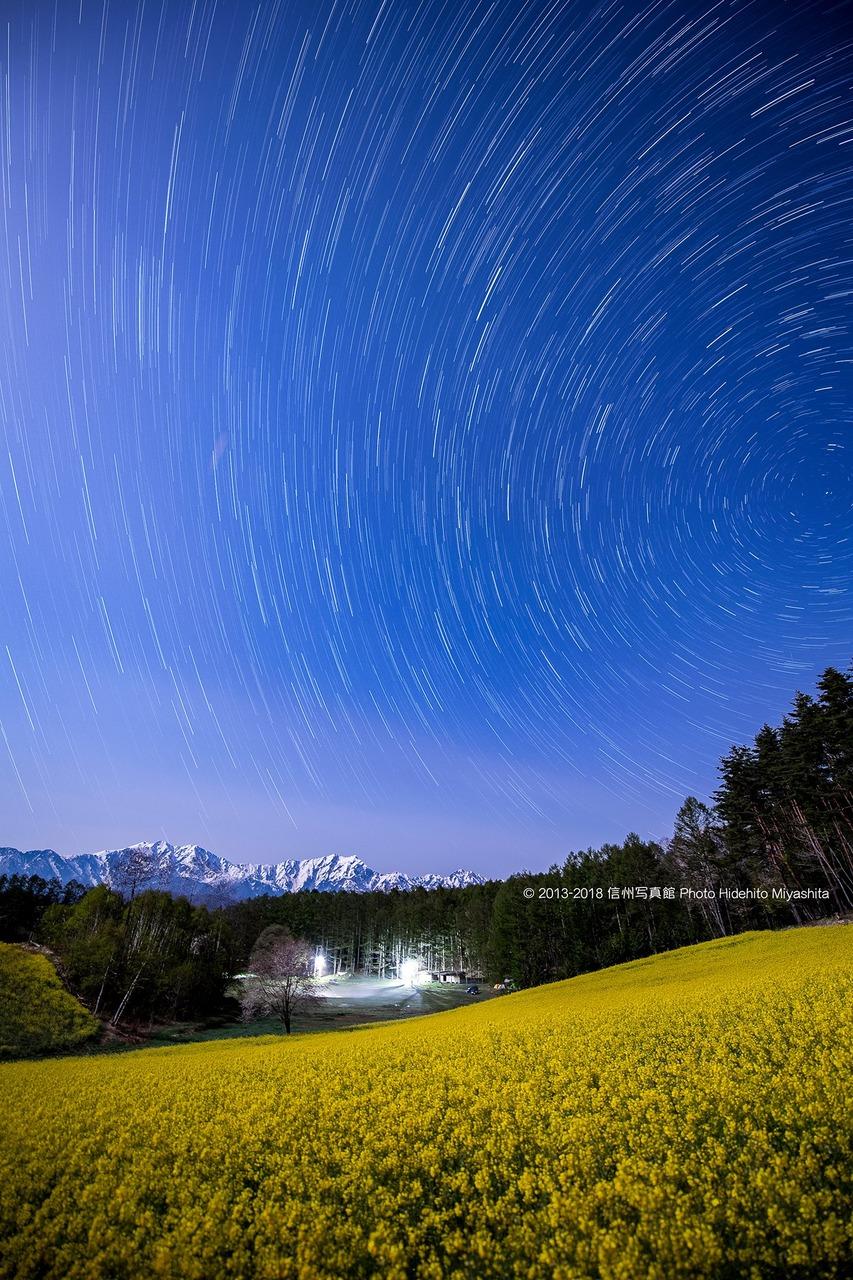 菜の花咲く深夜の高原