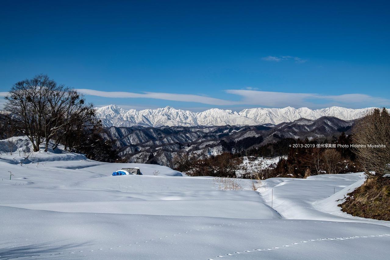 雪原越しの後立山連峰