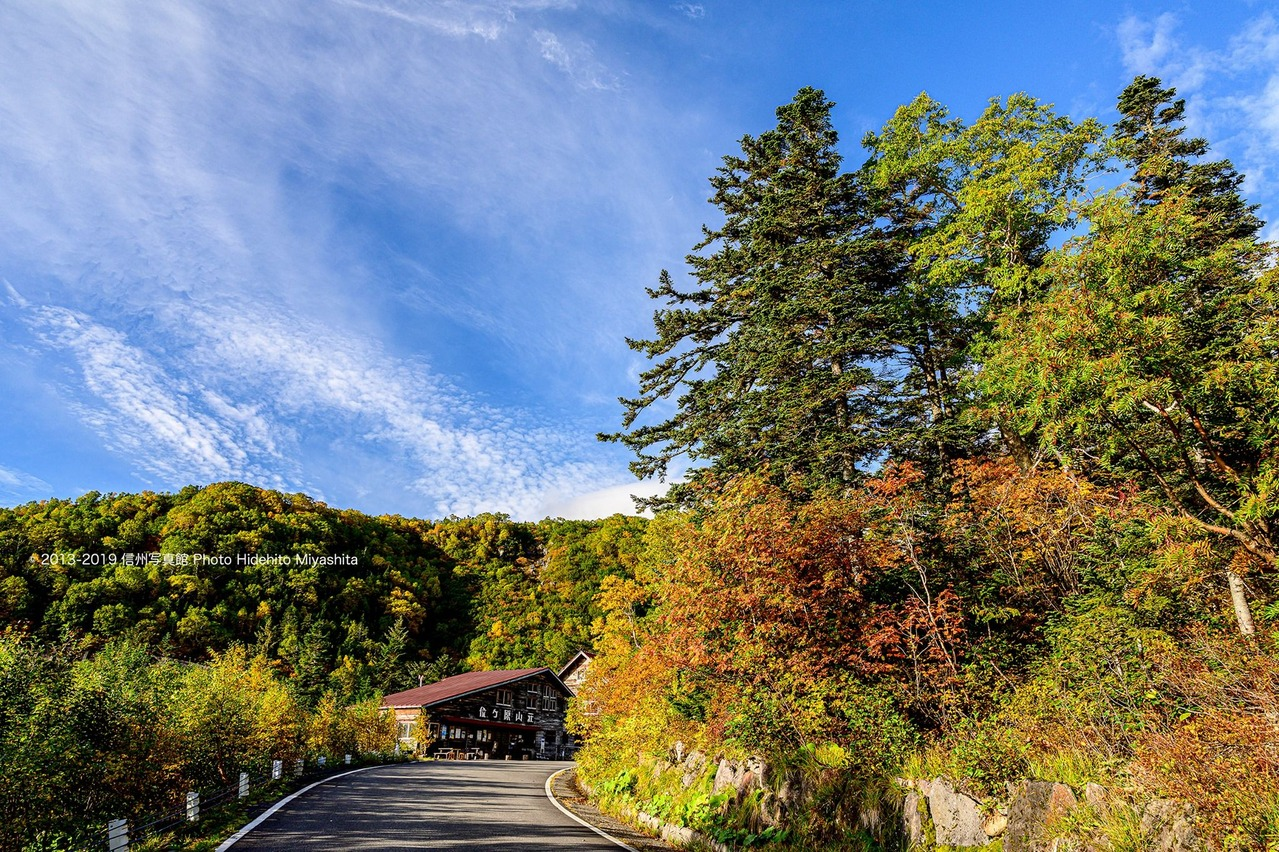 位ヶ原山荘前の紅葉
