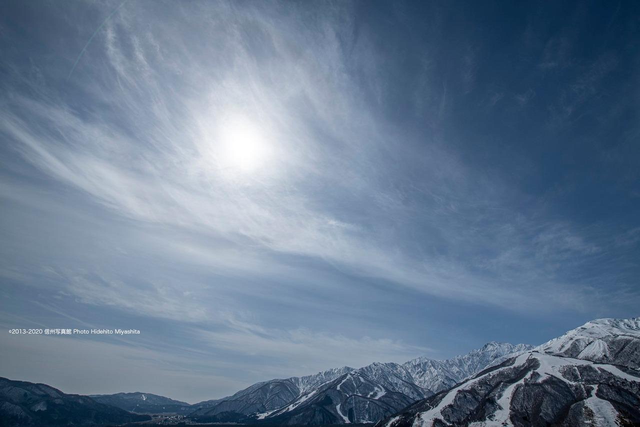 冬の陽射しと仁科三山