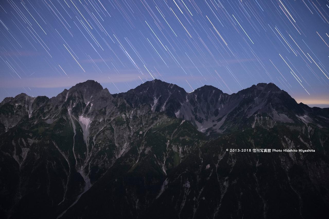 穂高連峰に降る星々