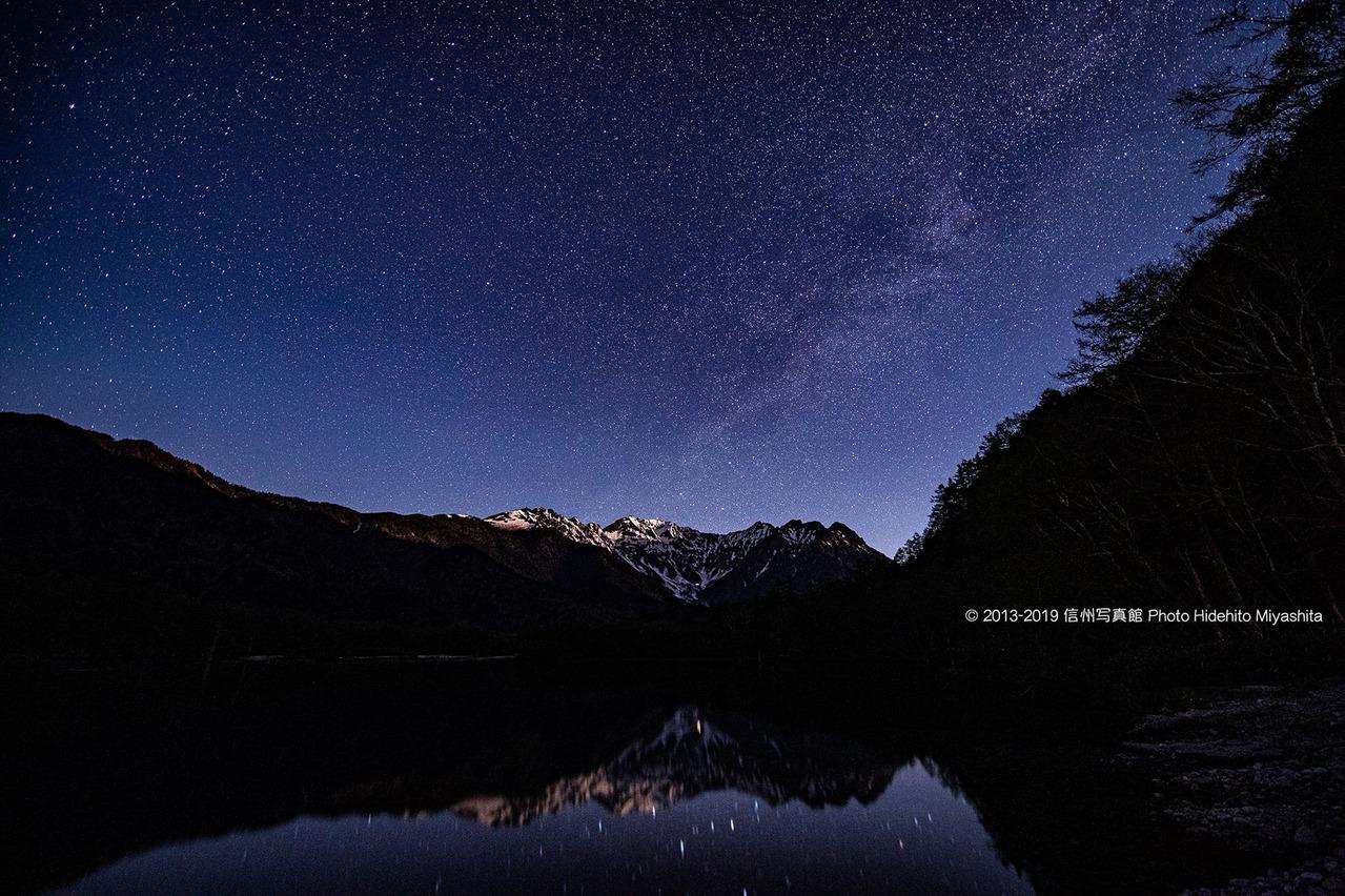 月夜の穂高連峰