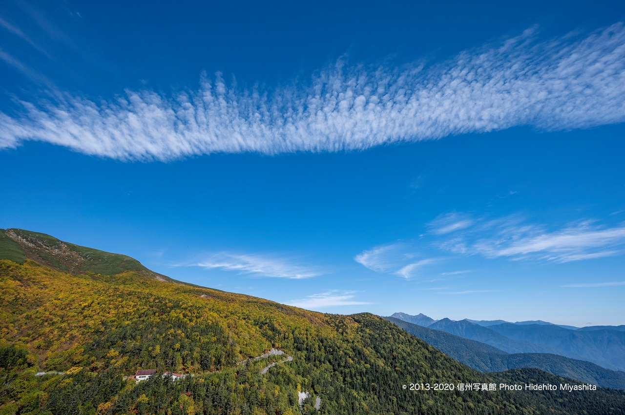 雲たなびく乗鞍岳