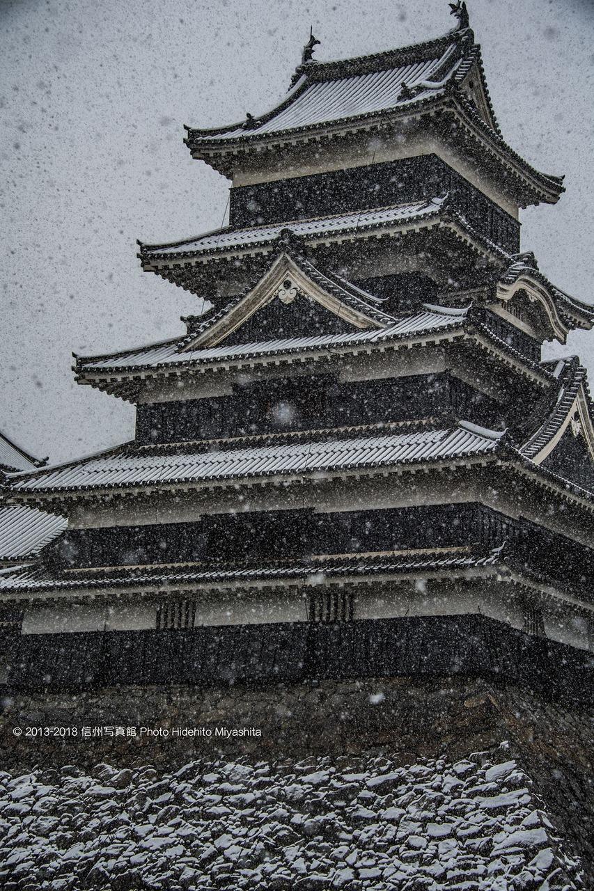 雪  松本城