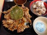 ほたるいか天丼+あさり汁大@魚食堂たわら