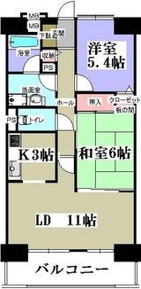 エクレール塩釜赤坂ヒルズ・13F・2LDK・間取図