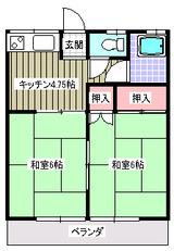 コーポ泉・2K・アパート・間取図