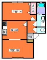 ヒルズ玉川A棟・2DK・アパート・間取図