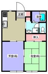 ラ・グラシューズ�・2DK・アパート・間取図