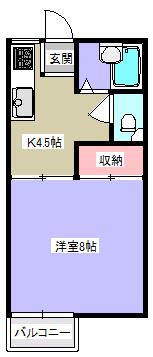 パルメゾンF1・1K・アパート・間取図