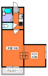 MJハイツ・1K+ロフト・アパート・間取図
