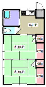 泉ヶ岡・2K・棟割貸家・間取図