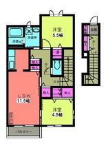 イーストヴィレッジB・1LDK・アパート・間取図