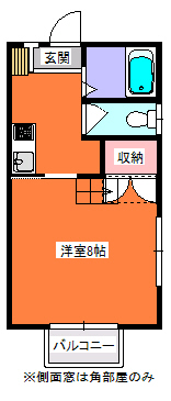 レジデンス玉川・小型犬可1K・アパート・間取図
