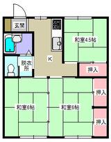 リバーハイツ八幡・3K・アパート・間取図