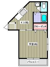 リバイブヒルズ・1K・アパート・間取図