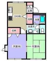 ピースフル・2DK・アパート・間取図