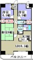 朝日プラザ駅前通505・3LDK・M・間取図