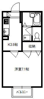 ピエスZen・1K・アパート・間取図