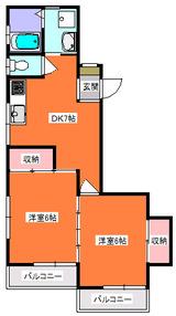 ベルポアン・2DK・アパート・間取図