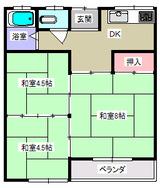 コーポポエム・3K・アパート・間取図(和室)