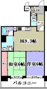 朝日プラザ駅前通・Cタイプ・2DK・M・間取図