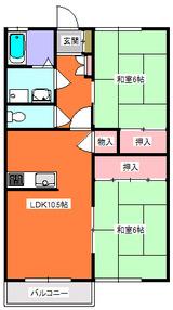 サンフラワー�・2LDK・間取図1
