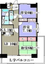 エクレール塩釜赤坂ヒルズ・2F角部屋・3LDK・M・間取図