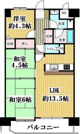 朝日プラザ駅前通・E2・3LDK・M・間取図